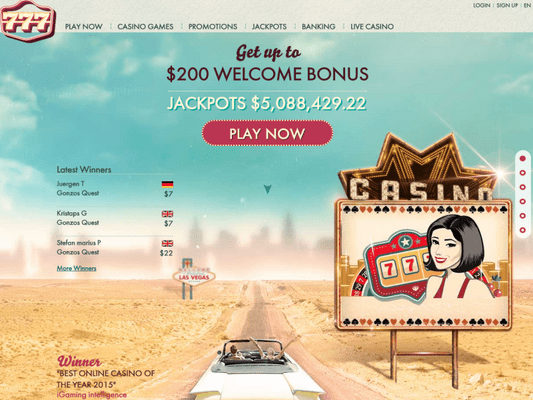 777 Casino website screenshot
