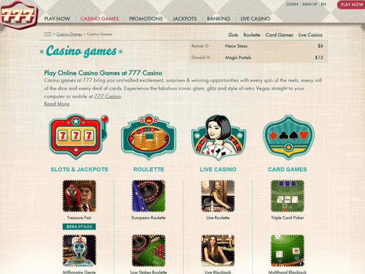 777 Casino software screenshot