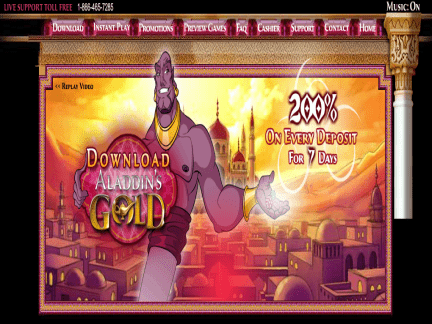 Aladdins Gold Casino website screenshot