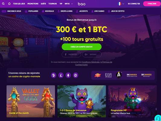 Bao Casino website screenshot
