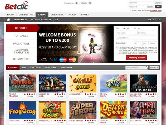Betclic Casino website screenshot