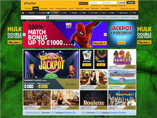 Betfair Casino website screenshot