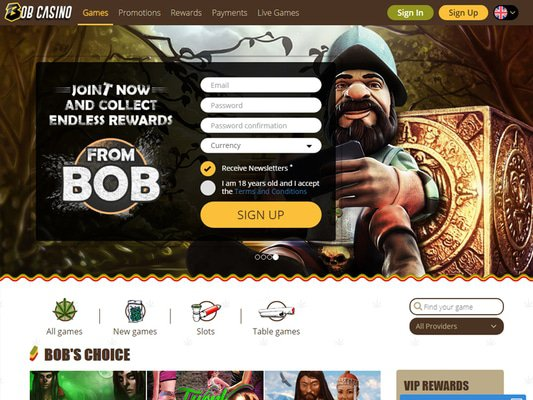 Bob Casino website screenshot