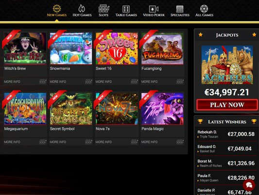 Bovegas Casino software screenshot