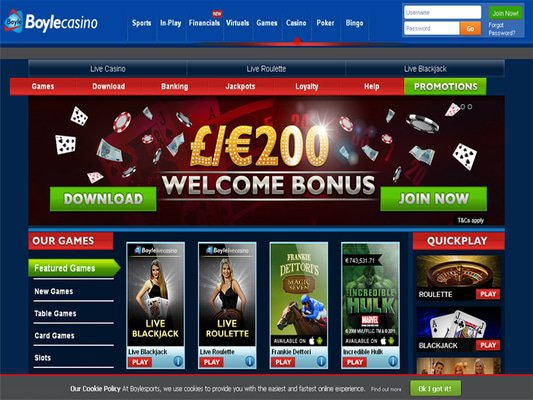 Boyle Casino website screenshot