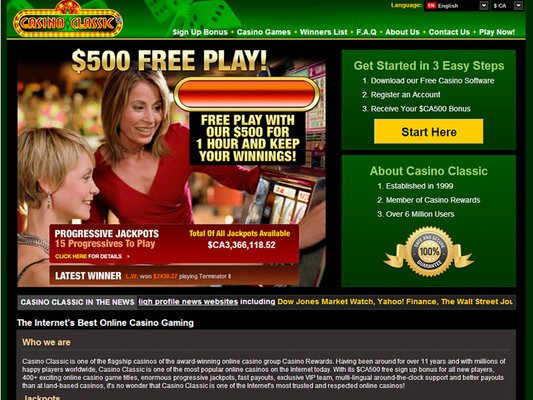 Classic Casino website screenshot