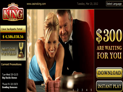 Casino King website screenshot