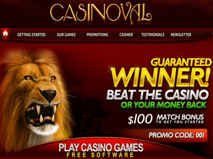 Casino Val website screenshot