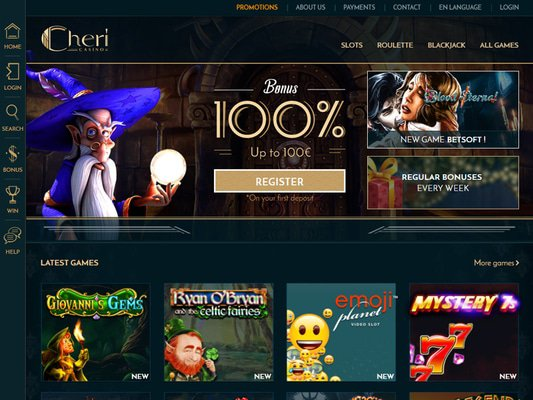 Cheri Casino website screenshot