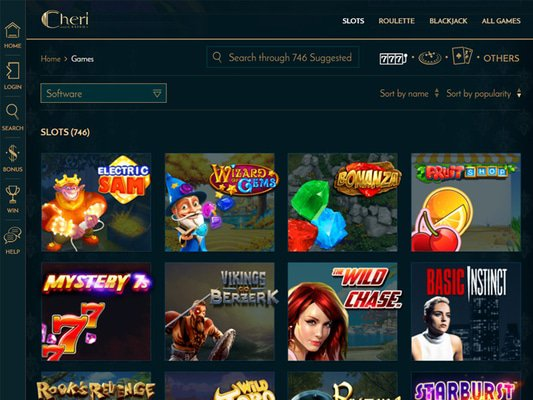 Cheri Casino software screenshot
