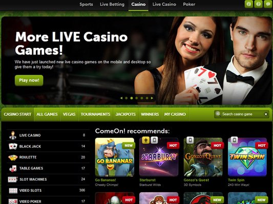 Come On Casino website screenshot
