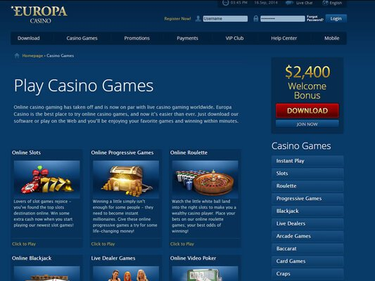 Europa Casino software screenshot