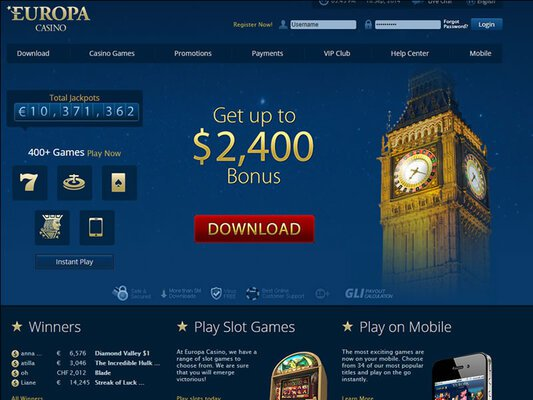 Europa Casino website screenshot
