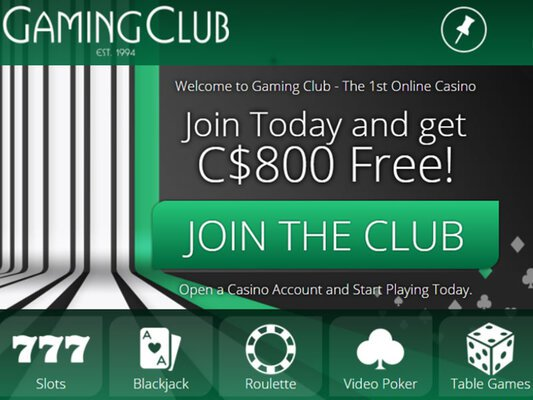 Gaming Club Casino website screenshot