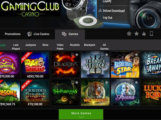 Gaming Club Casino software screenshot