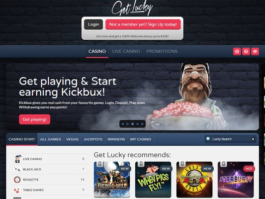 GetLucky Casino website screenshot