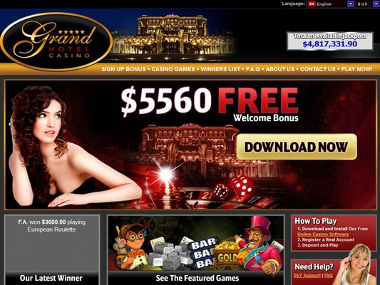 Grand Hotel Casino website screenshot