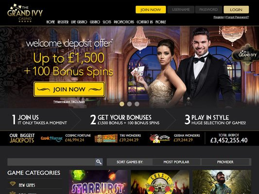 Grand Ivy Casino website screenshot