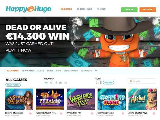 Happy Hugo Casino website screenshot