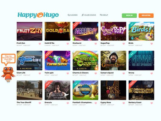 Happy Hugo Casino software screenshot