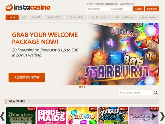 InstaCasino website screenshot