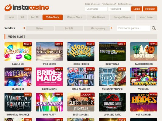 InstaCasino software screenshot