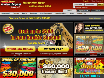 Intertops Casino website screenshot