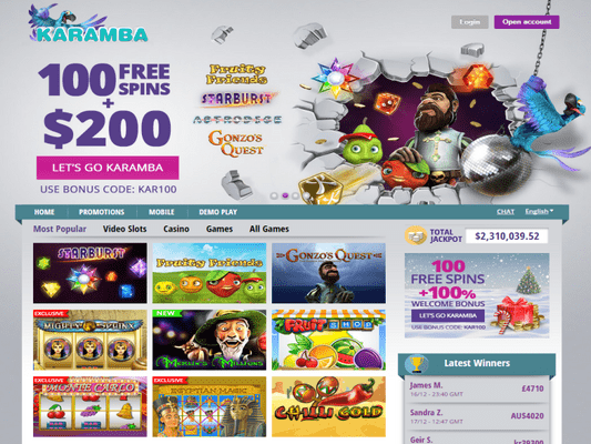 Karamba Casino website screenshot