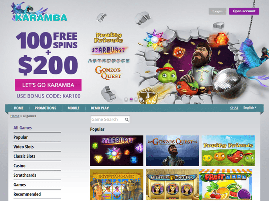 Karamba Casino software screenshot