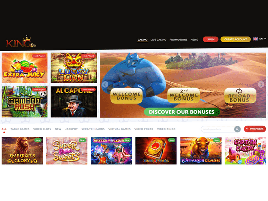 Kingbit Casino website screenshot