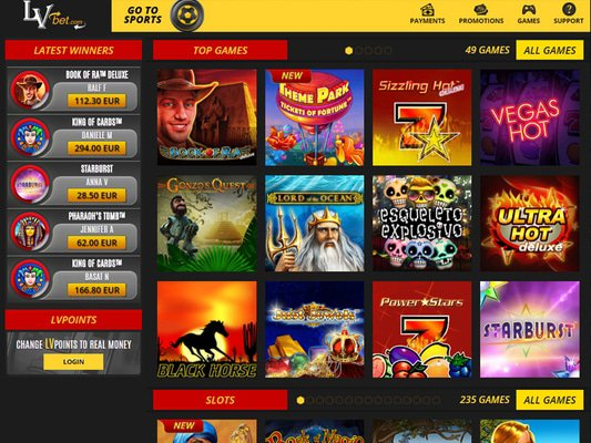 Lvbet Casino software screenshot