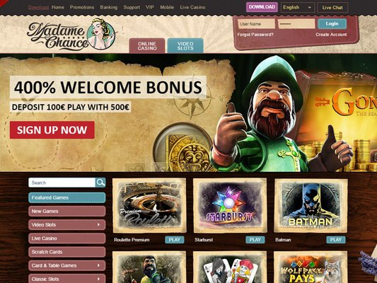Madame Chance Casino website screenshot