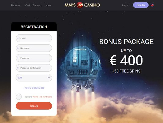 Mars Casino website screenshot