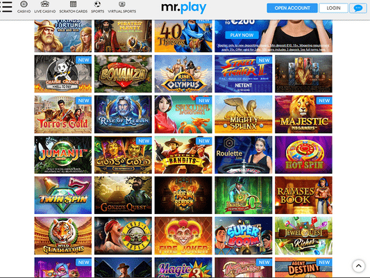 Mr Play Casino software screenshot