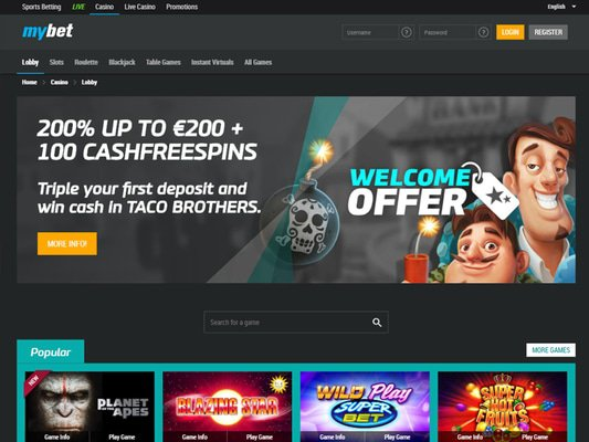 Mybet Casino website screenshot