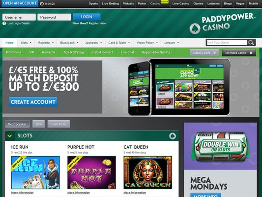 Paddy Power Casino website screenshot