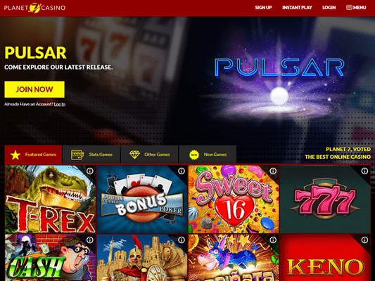 Planet7 Casino website screenshot
