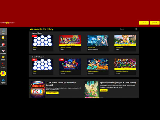 Planet7 Casino software screenshot