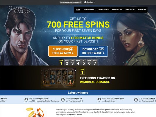 Quatro Casino website screenshot