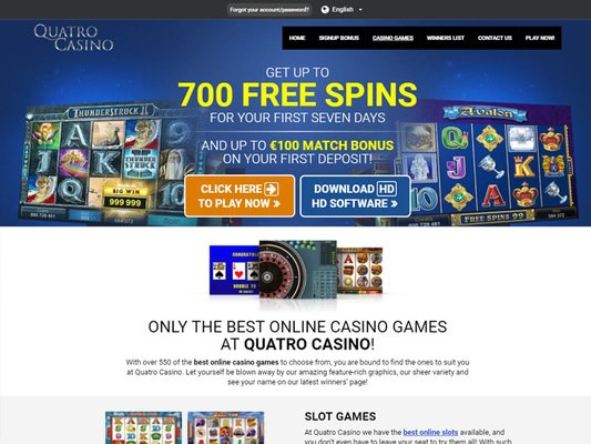 Quatro Casino software screenshot