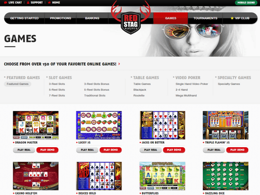 Red Stag Casino software screenshot