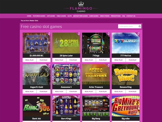 Royal Flamingo Casino software screenshot