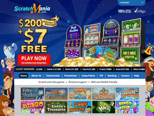 Scratch Mania Casino website screenshot