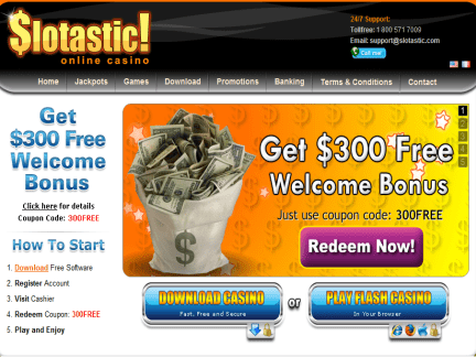 Slotastic Casino website screenshot