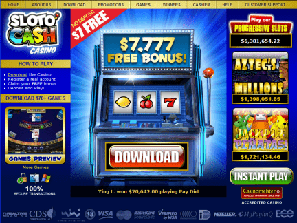 Slotocash Casino website screenshot