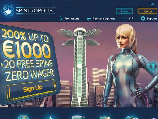 Spintropolis Casino website screenshot