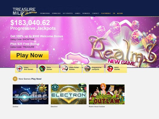 Treasure Mile Casino website screenshot