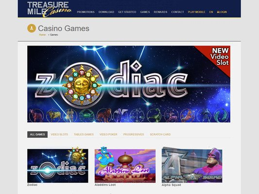 Treasure Mile Casino software screenshot