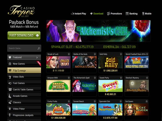 Tropez Casino software screenshot