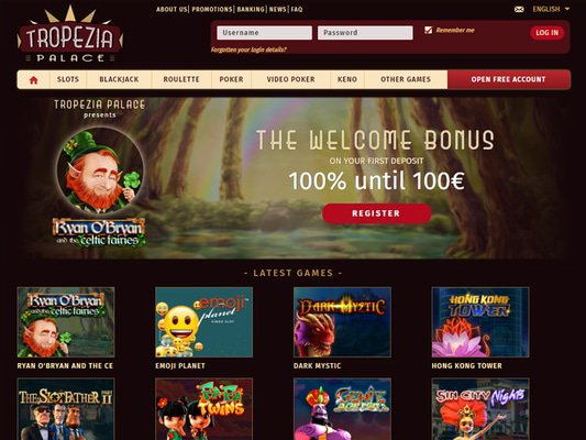 Tropezia Palace Casino website screenshot